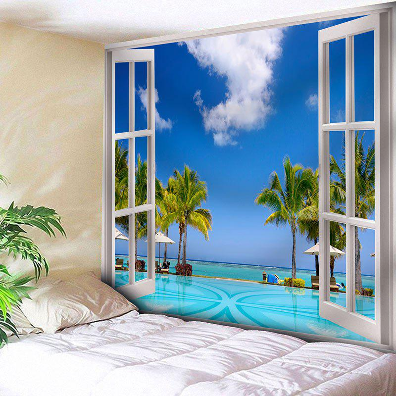 Microfiber Wall Hanging Window Scenery Print Tapestry - BLUE W79 INCH * L59 INCH
