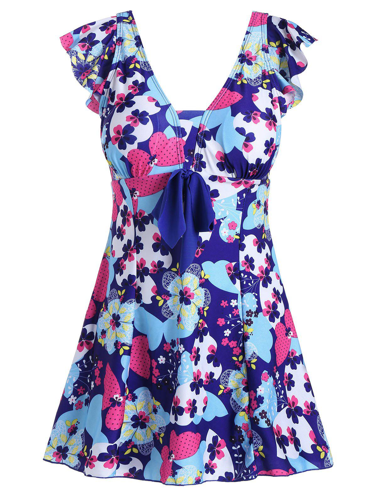 cba14e82d4b 2018 Padded Underwire Floral Plus Size Swimdress BLUE XL In Plus ...
