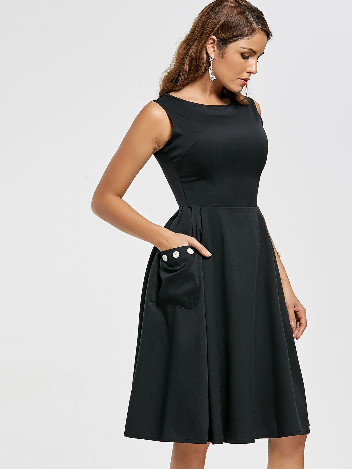 Pockets Fit and Flare Sleeveless Dress - BLACK S