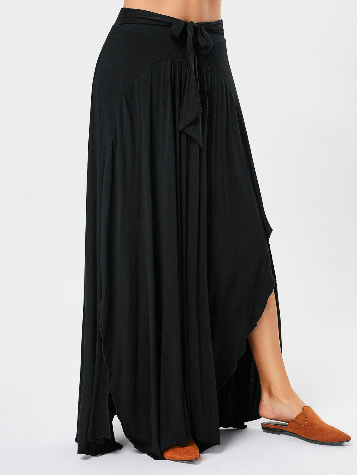 Asymmetrical Maxi Skirt with Bowknot Lace Up