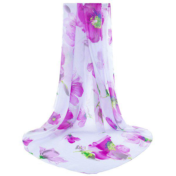 Gossamer Floral Pattern Shawl Scarf - Pourpre