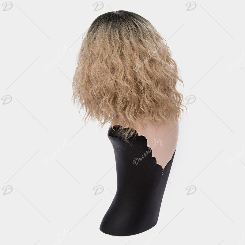 Medium Ombre Side Part Shaggy Natural Wave Synthetic Wig - Brun Clair
