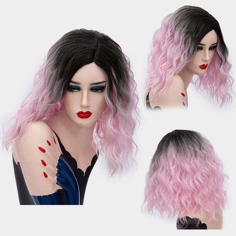 Medium Ombre Side Part Shaggy Natural Wave Synthetic Wig - PINK