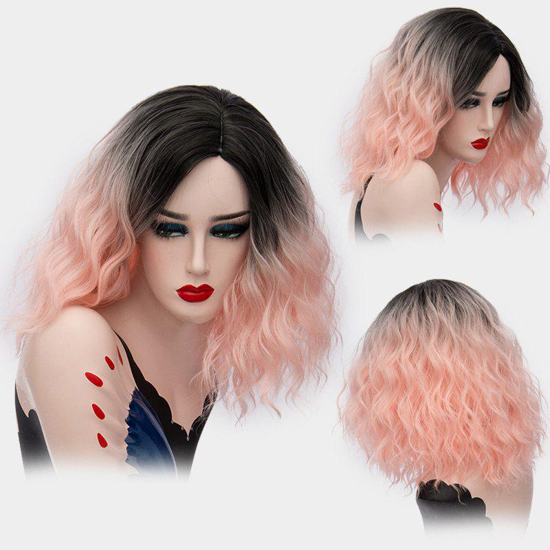 Medium Ombre Side Part Shaggy Natural Wave Synthetic Wig - LIGHT PINK