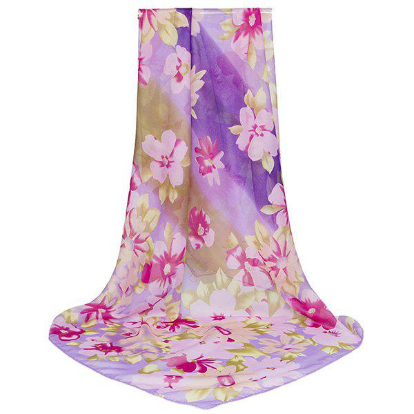 Echarpe imprimée Gossamer Watercolor Flowers Printed - Pourpre