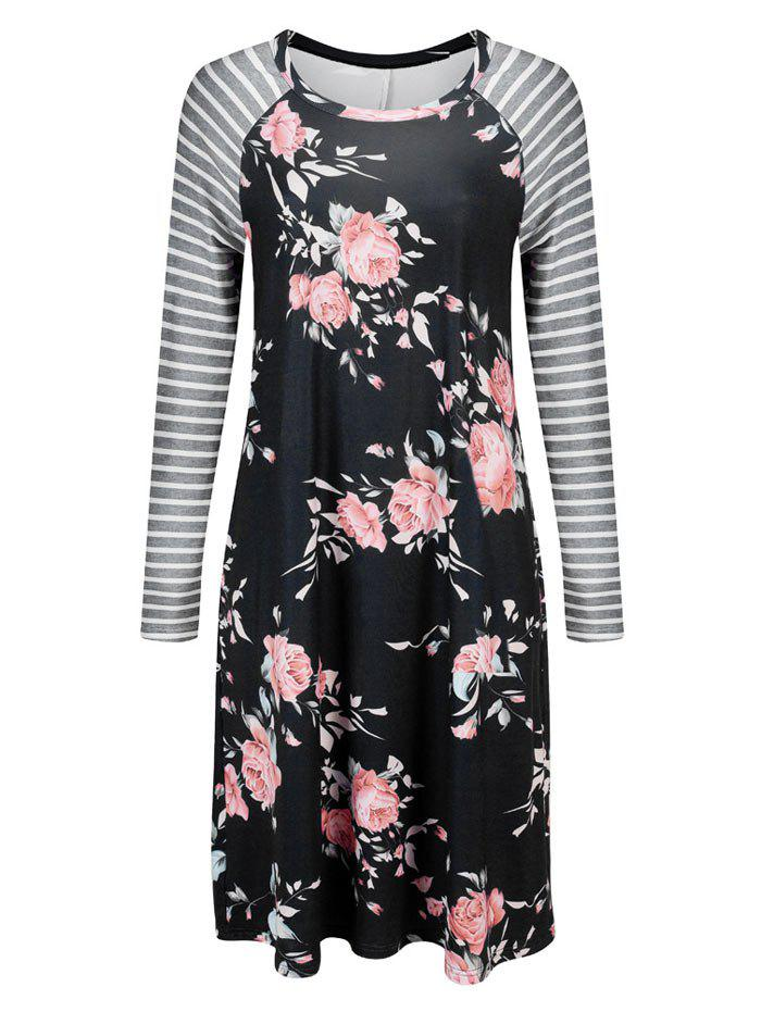 Striped Long Sleeve Floral Shift Dress - BLACK S