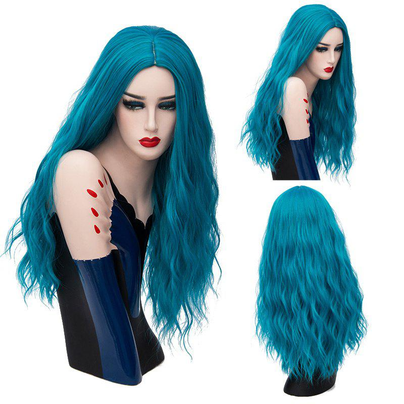 Long Center Parting Fluffy Natural Wave Synthetic Wig - OASIS
