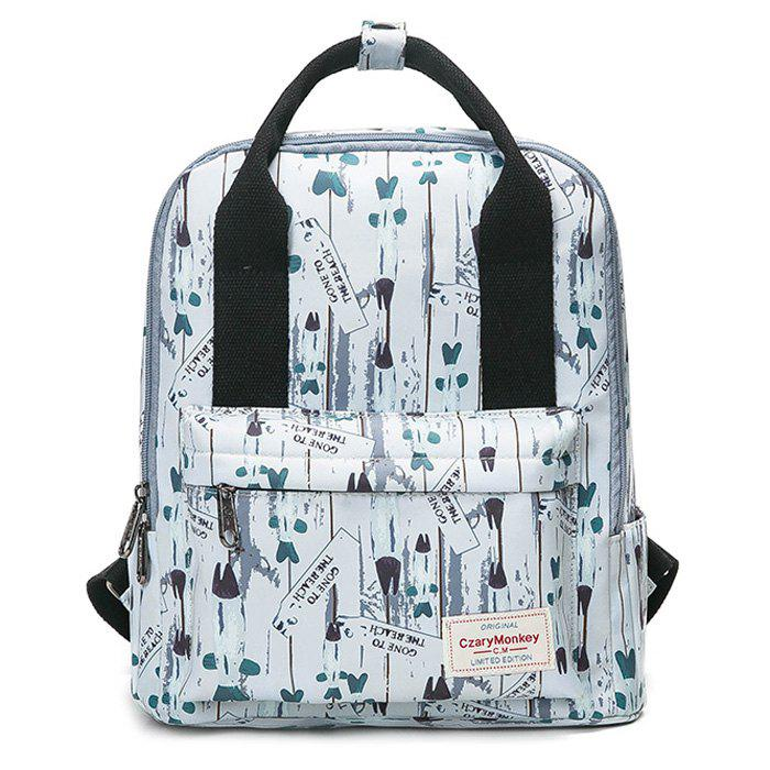 Printed Nylon Backpack - WHITE