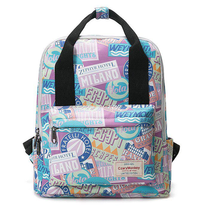Printed Nylon Backpack - PURPLE