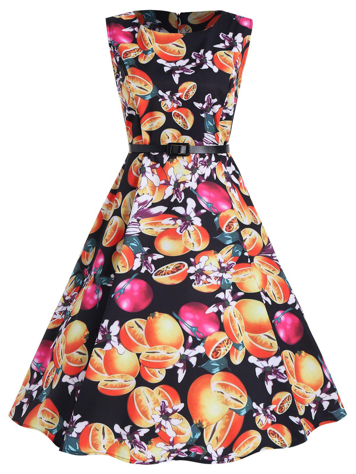 Vintage Print A Line Party Dress - BLACK XL