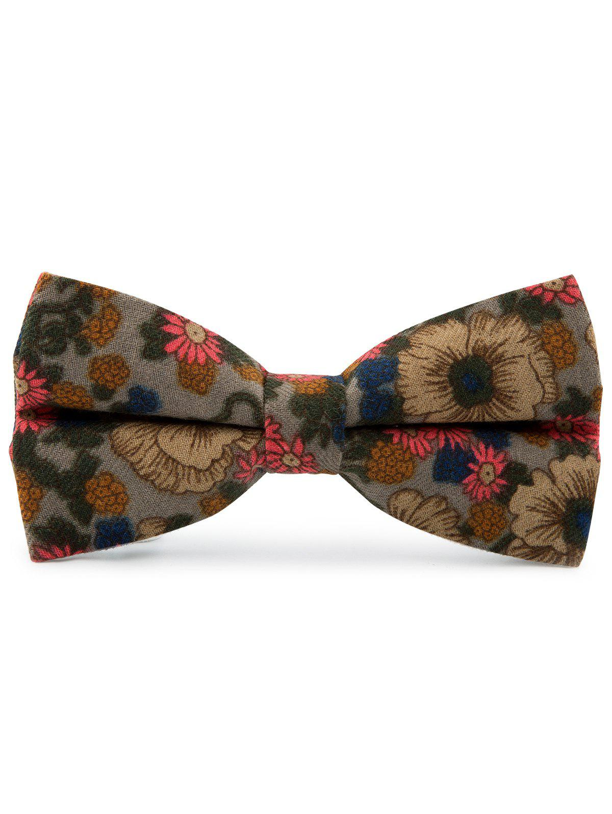 Tiny Flowers Pattern Cotton Blend Bow Tie - GRAY