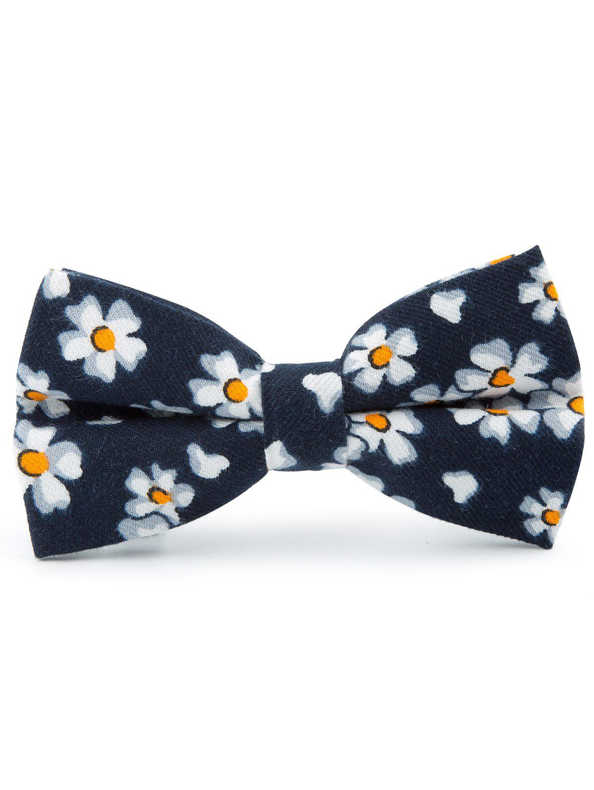 Tiny Flowers Pattern Cotton Blend Bow Tie - Bleu Cadette