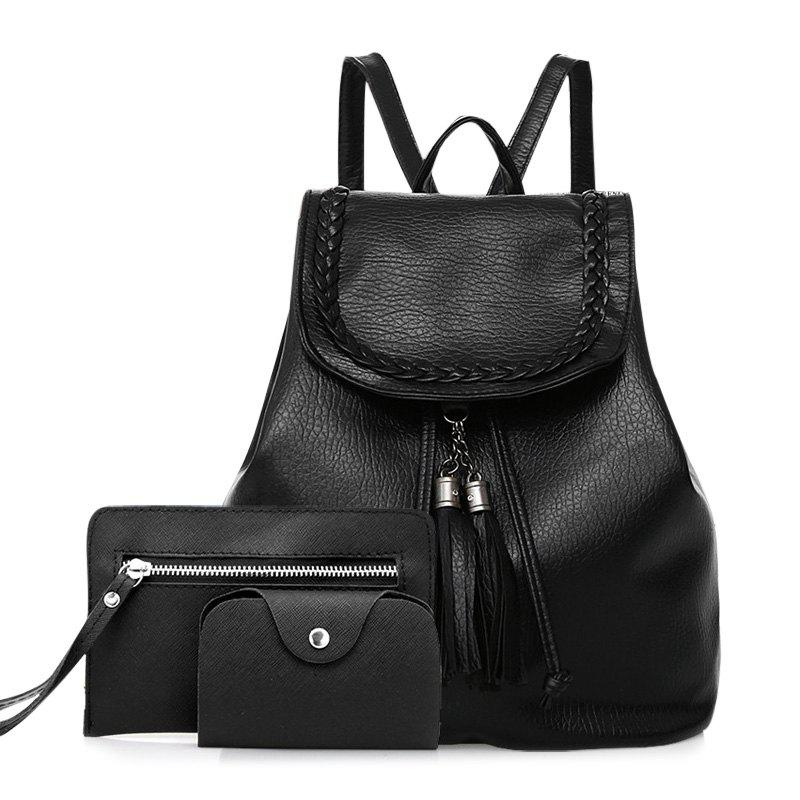 Faux Leather Tassel Backpack Set - BLACK