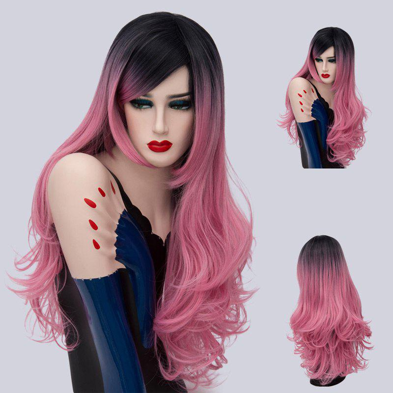 Long Side Part Layered Shaggy Curly Ombre Synthetic Wig - PINK