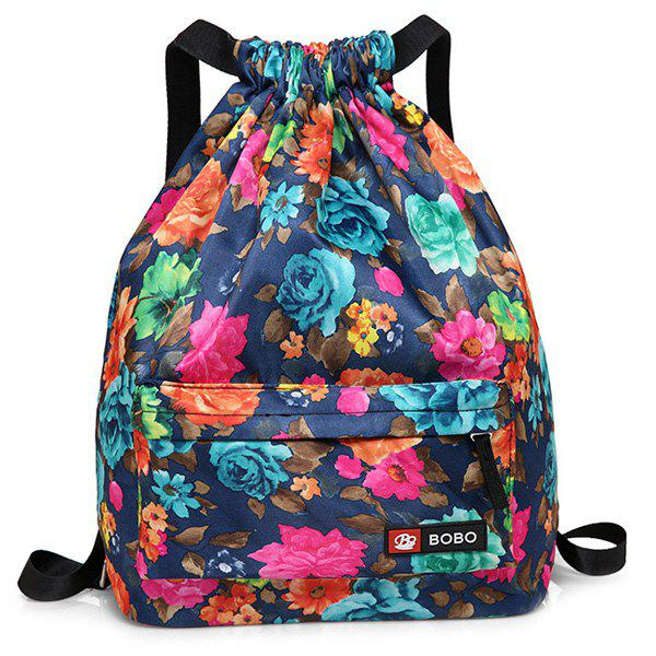 Drawstring Printed Nylon Backpack - BLUE
