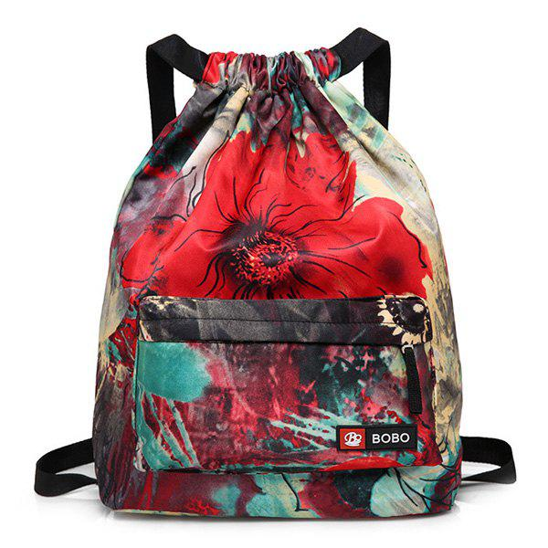 Drawstring Printed Nylon Backpack - RED