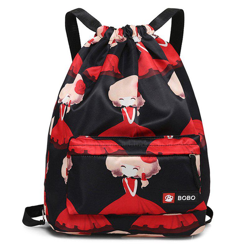 Drawstring Printed Nylon Backpack - BLACK/RED