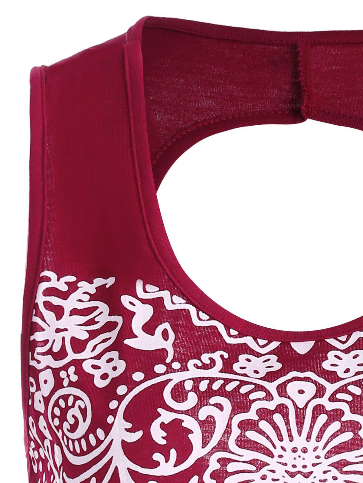 Patterned Backless Tank Top - DEEP RED XL