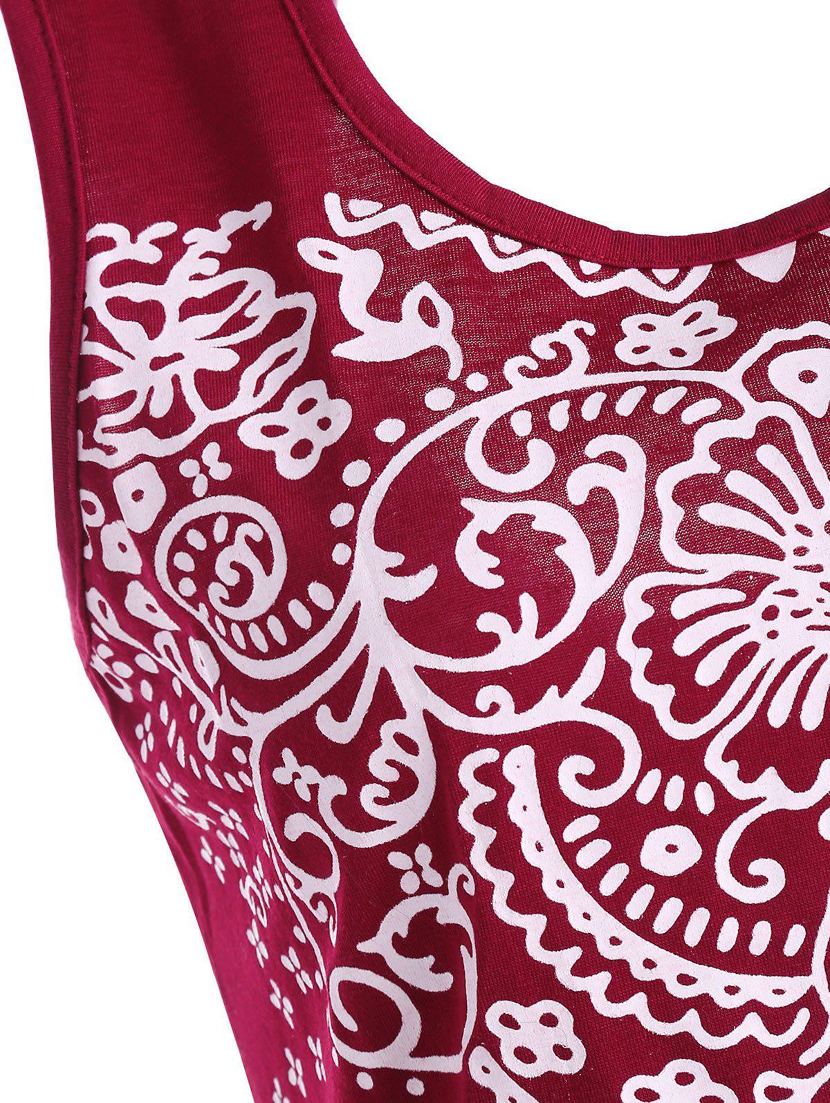 Patterned Backless Tank Top - DEEP RED S
