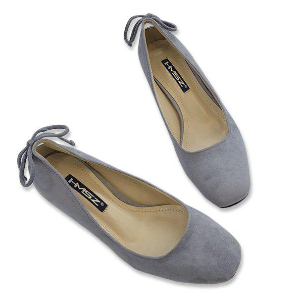 Mid Heel Square Toe Bow Pumps - Gris 38