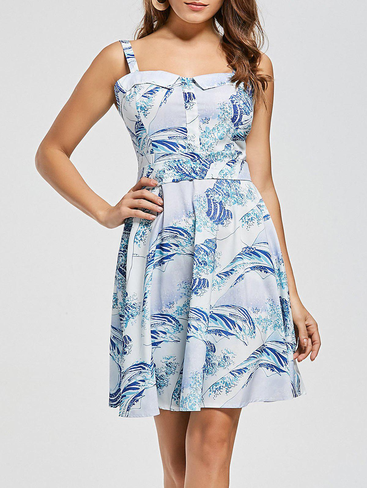 Vintage Sea Wave Print Skater Dress - LIGHT BLUE L