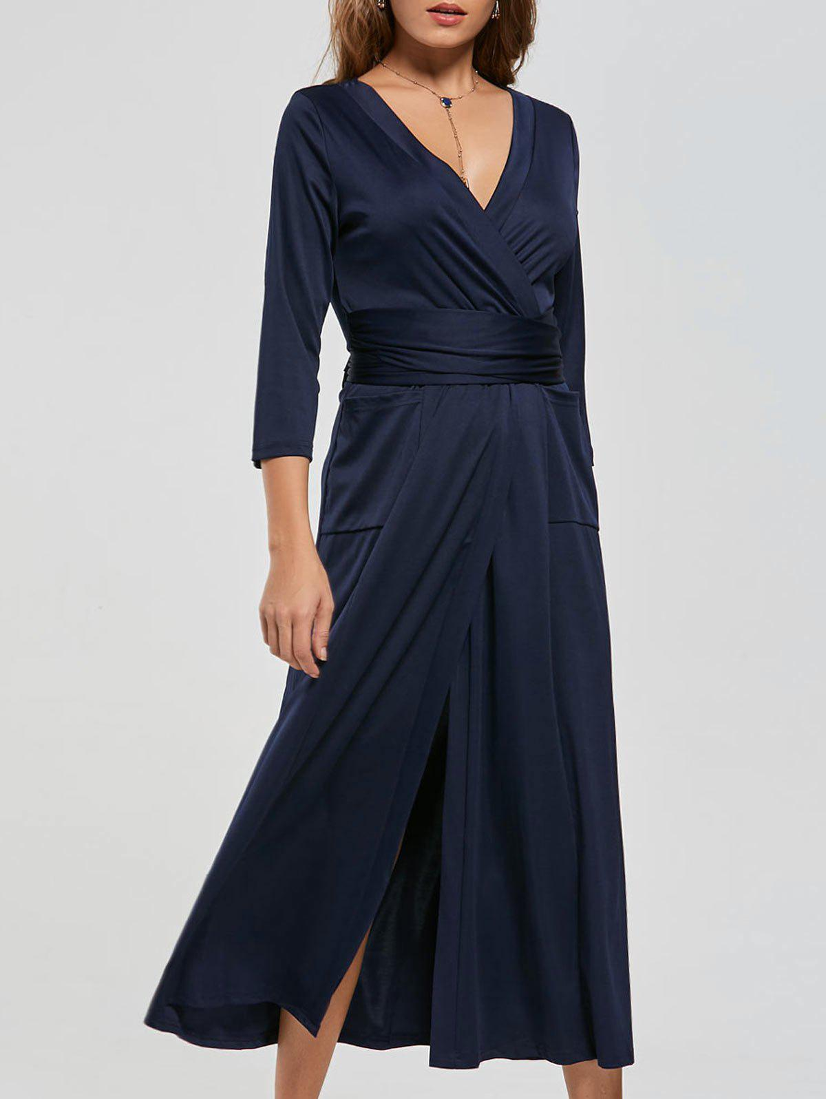 V Neck Pockets High Slit Midi Surplice Dress - PURPLISH BLUE 2XL