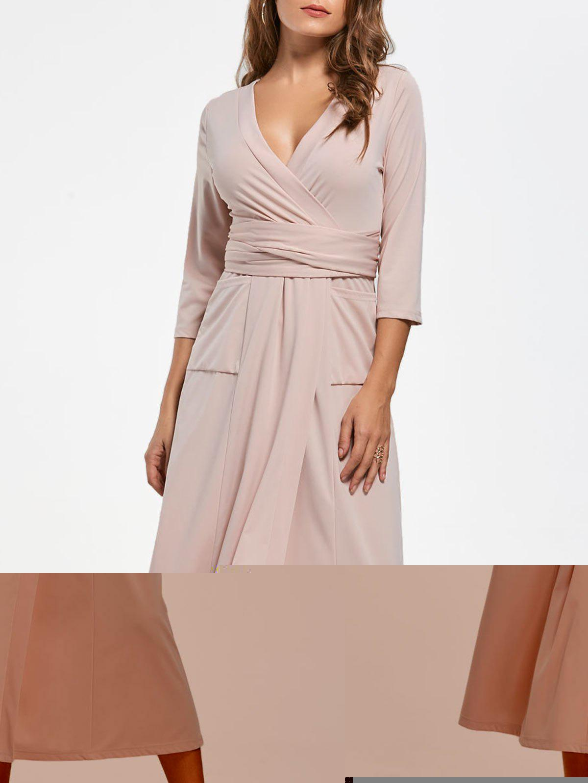V Neck Pockets Robe de survêtement Midi - Chair L