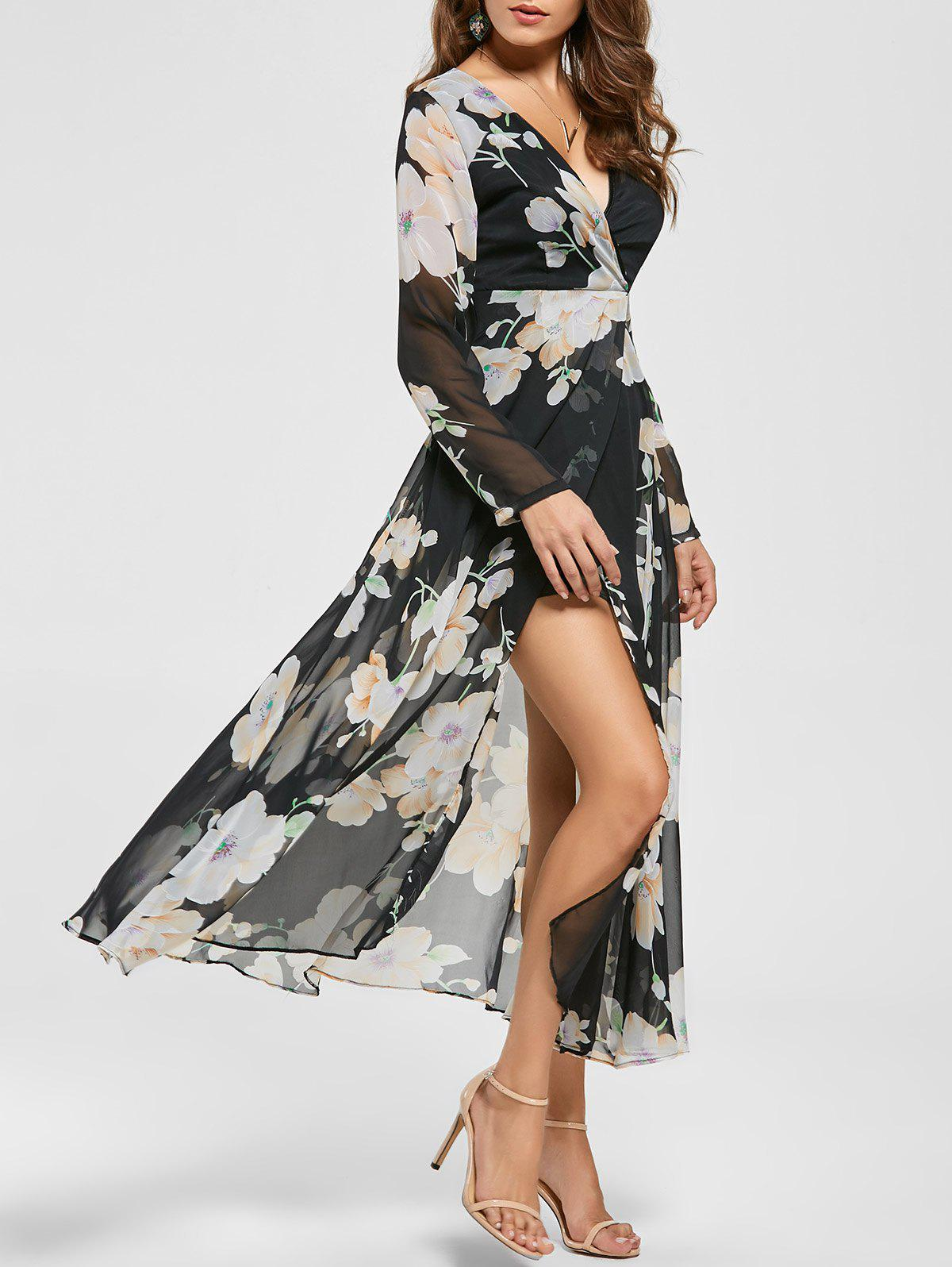 Floral Sheer Slit Long Sleeve Chiffon Flowy Dress - BLACK S