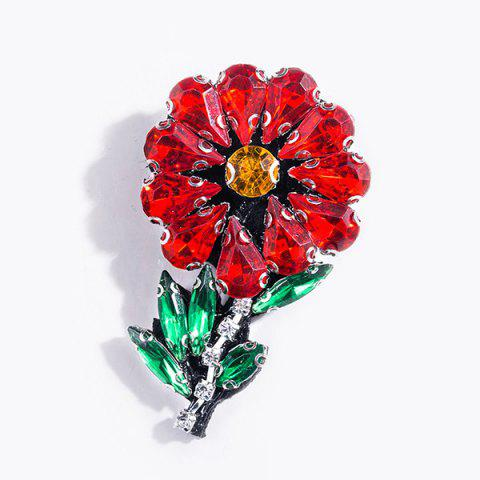 Artificial Crystal Flower Brooch - RED