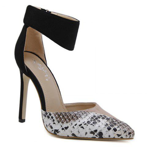 Snake Printed Point Toe High Heel Pumps - APRICOT 40