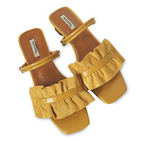 Convertible Square Toe Flounce Sandals - YELLOW 39