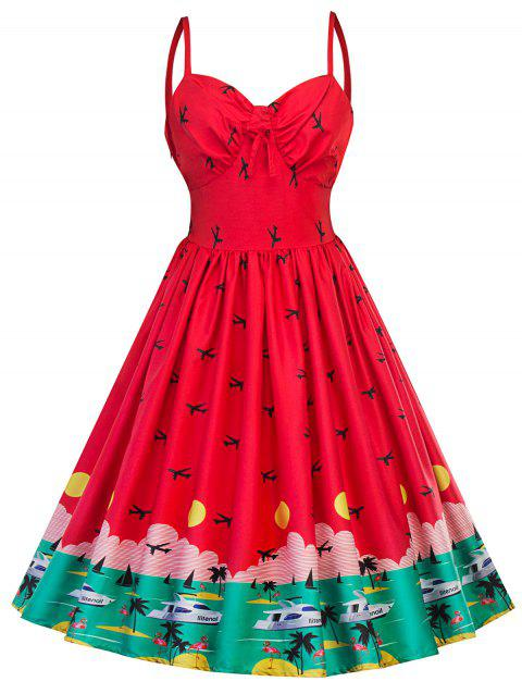 Vintage Watermelon Swing Pin Up Dress - RED L