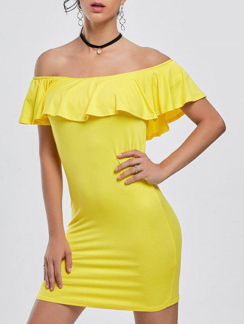 2f0bd84836ac 41% OFF  2019 Off The Shoulder Ruffle Bodycon Mini Dress In YELLOW ...