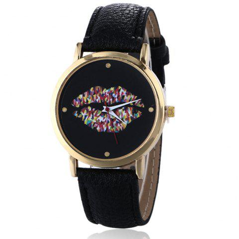 Lip Face Faux Leather Watch - BLACK