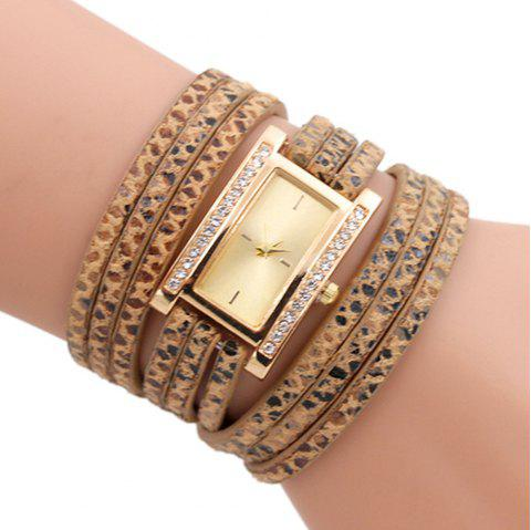 Faux Leather Wrap Braclet Rectangle Watch - GOLDEN