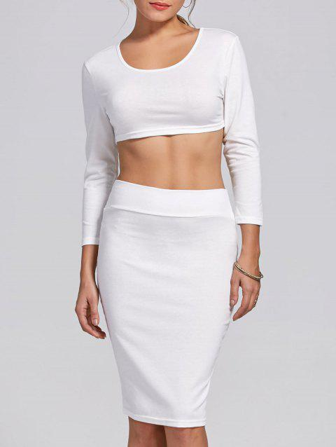 Stylish Women's Scoop Neck Long Sleeve Solid Color Crop Top and Skirt Suit - WHITE XL