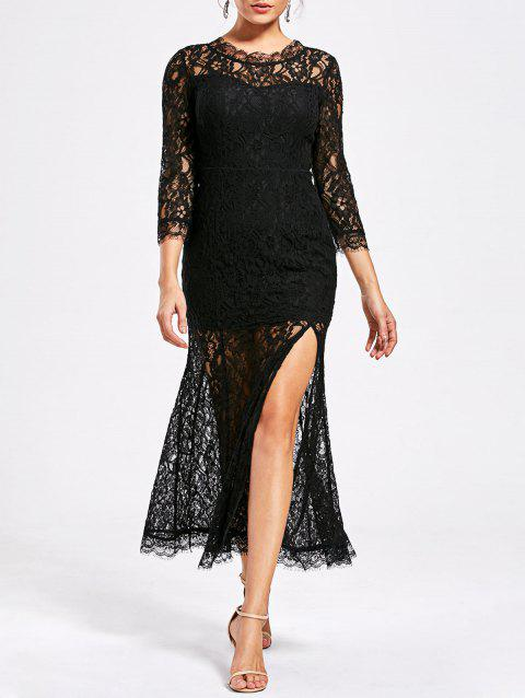 See Thru High Split Lace Party Dress - BLACK M
