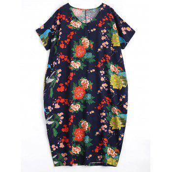 Plus Size Floral Causal Midi Dress with Pockets