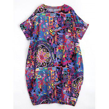 Plus Size Graffiti Linen Midi Length Dress
