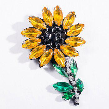 Faux Crystal Flower Sparkly Brooch - YELLOW YELLOW