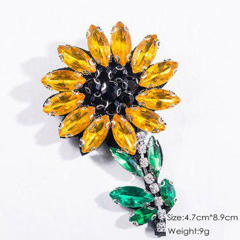 Faux Crystal Flower Sparkly Brooch -  YELLOW