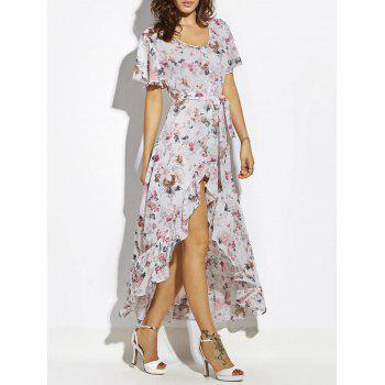 Asymmetrical Belted Button Up Chiffon Maxi Dress
