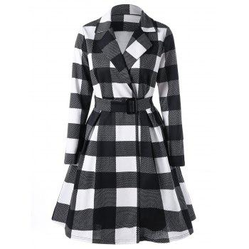 Notched Collar Plaid Shirt Dress