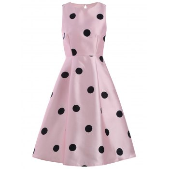 Sleeveless Polka Dot Print Pin Up Dress