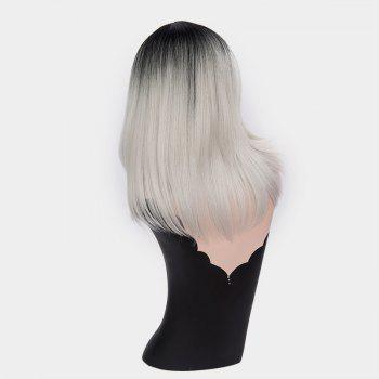 Short Center Part Ombre Silky Straight Synthetic Wig -  FROST