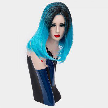 Short Center Part Ombre Silky Straight Synthetic Wig -  BLUE