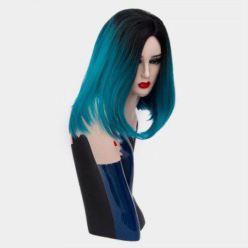 Short Center Part Ombre Straight Synthetic Wig -  BLACKISH GREEN