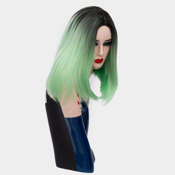 Short Center Part Ombre Silky Straight Synthetic Wig -  LIGHT GREEN