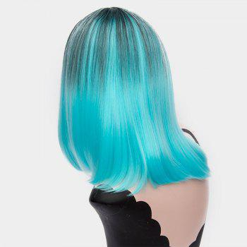 Short Center Part Ombre Silky Straight Synthetic Wig -  WINDSOR BLUE