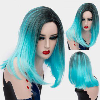 Short Center Part Ombre Silky Straight Synthetic Wig